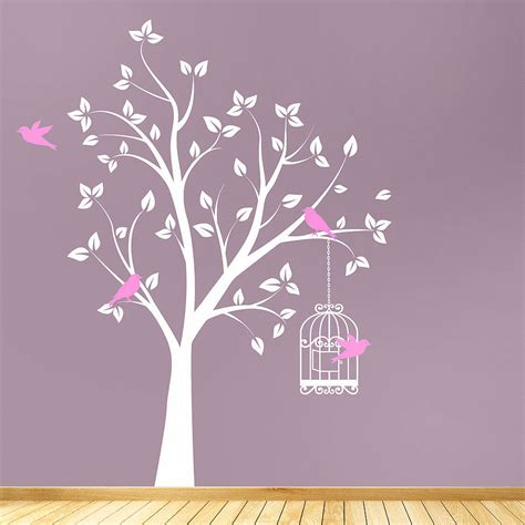 wall sticker decal tree with bird cage wall stickers by parkins interiors notonthehighstreet