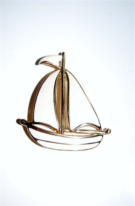 sailing boat brooch vintage nautical sail boat brooch solid enamel white