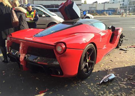 ferrari laferrari crash laferrari crashes into row of parked cars in hungary