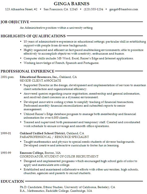 resume administrative position at a university susan