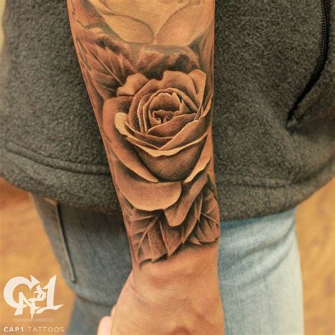 realistic rosebud and free flowing leaves by capone