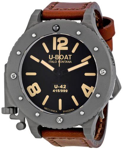 U Boat Italo Fontana Rosegold Combi Brown Leather wind up watches