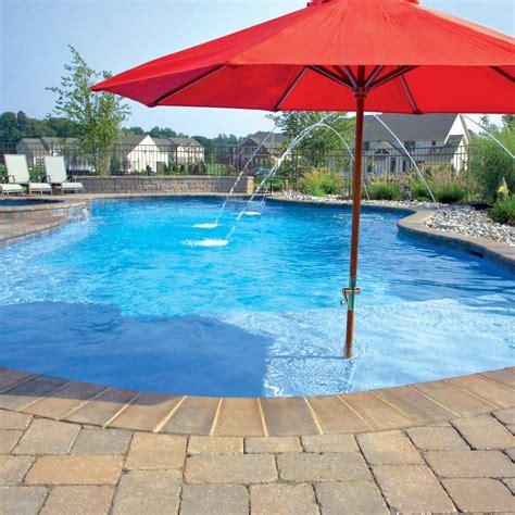 form concrete pool  brick coping laminar deck