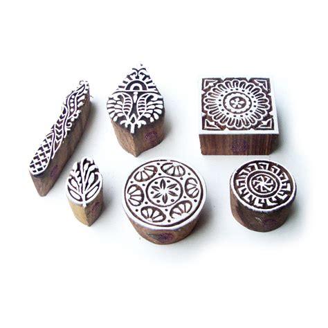 pattern wooden blocks round and square handmade pattern wooden printing blocks