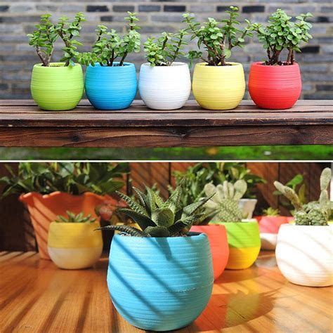 home decor pots mini colourful round plastic plant flower pots home office