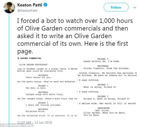 olive garden bot keaton patti s olive garden commercial daily mail