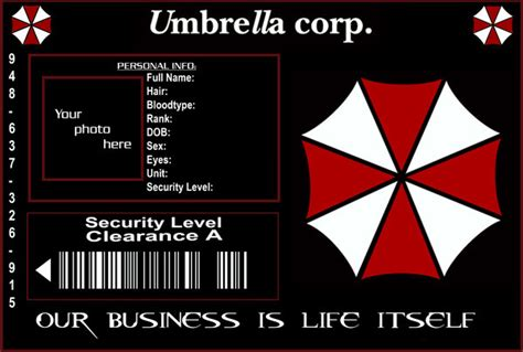 umbrella corporation id card template umbrella corp id template by purplepuddlenut on deviantart