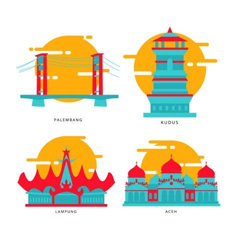 city  indonesian landmark icon premium vector