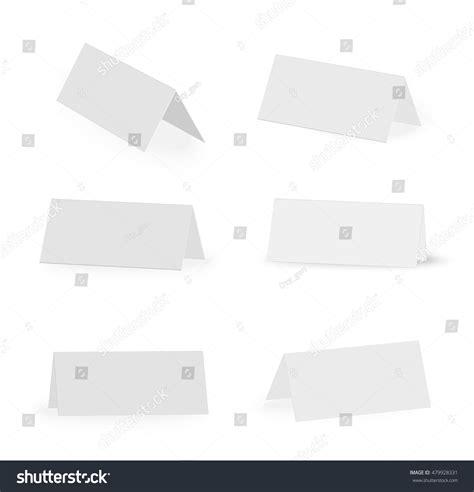 paper card holder template white blank paper standing table holder stock vector