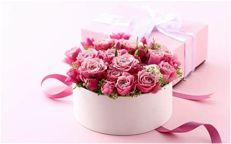wallpaper flower gift gift of love and pink flowers hd wallpaper 9 hd wallpapers