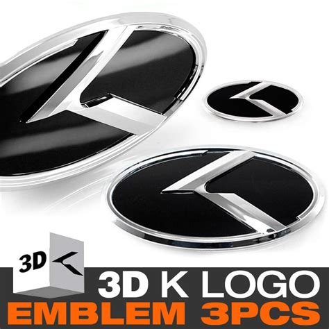 Kia K Logo Emblems 3d K Logo Front Grill Trunk Steering Wheel Emblem For