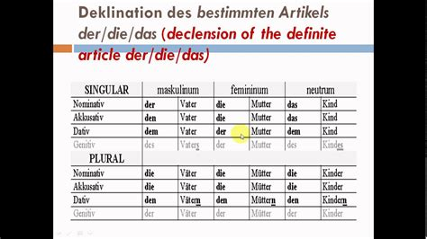 Der Die Das Büro by Learn German2 Grammar A1 Deklination Des Bestimmten