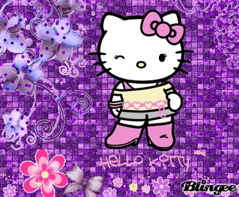 wallpaper hello kitty begerak violet gif find share on giphy