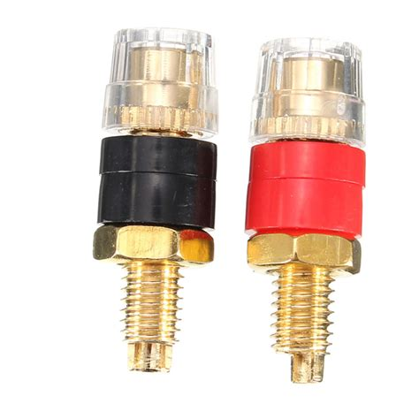 Copper Terminals For 4mm Banana 2pcs copper terminal black for 4mm banana connector speaker cable lifier alex nld