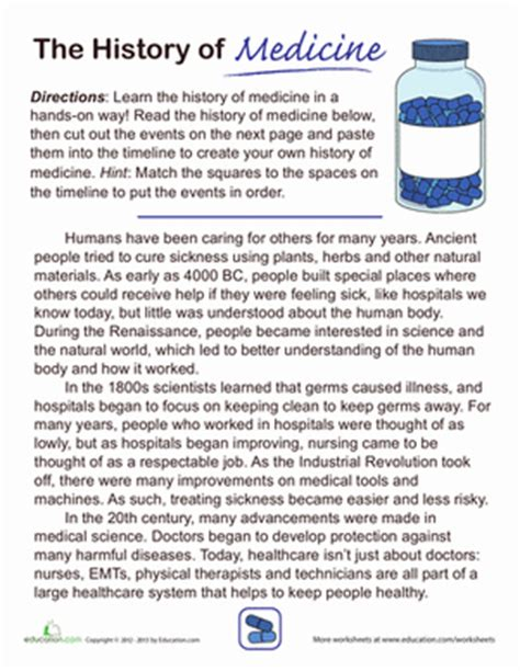 The History Of For Worksheet by History Of Medicine Worksheet Education
