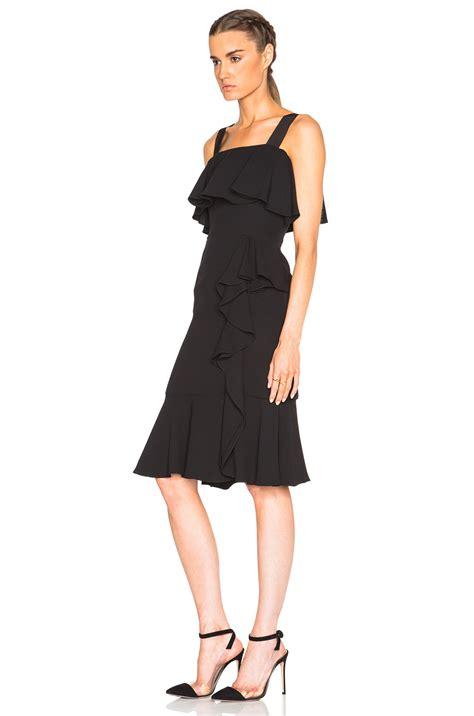 black drape dress alexander mcqueen off shoulder drape dress in black lyst