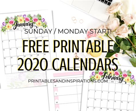 printable  calendar  flowers printables  inspirations