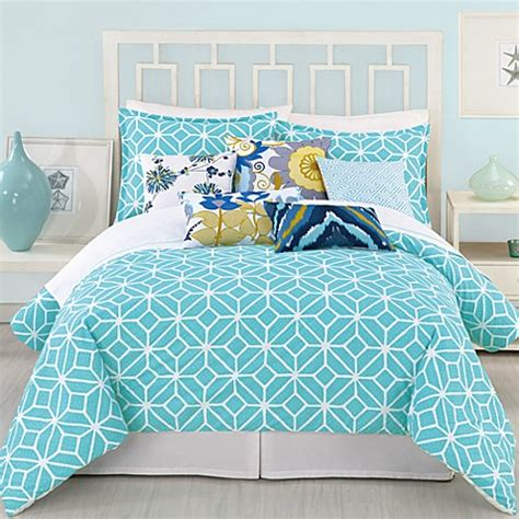White And Turquoise Duvet Cover by 174 Trellis Duvet Cover In Turquoise Bed Bath