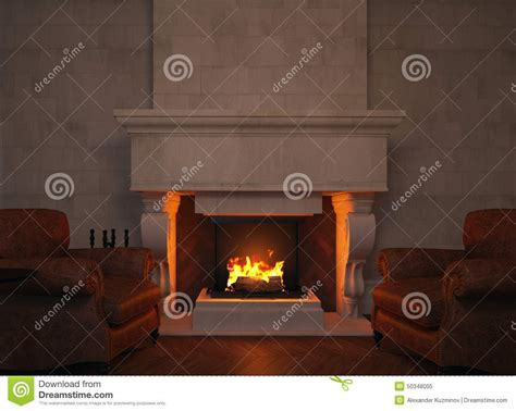 Fireplace Render by 3d Armchairs And Fireplace Stock Photo Image 50348005