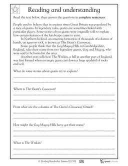 3rd Grade Reading And Writing Worksheets by Reading Comprehension Great Britain Esl