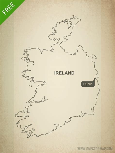 Ie Map Area Outline by Free Vector Map Of Ireland Outline One Stop Map