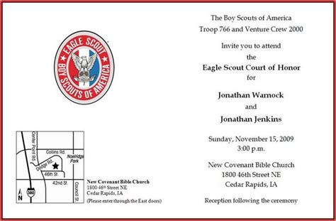 Eagle Scout Congratulations Card Template by Pin Eagle Scout Invitations Exles Image Search Results