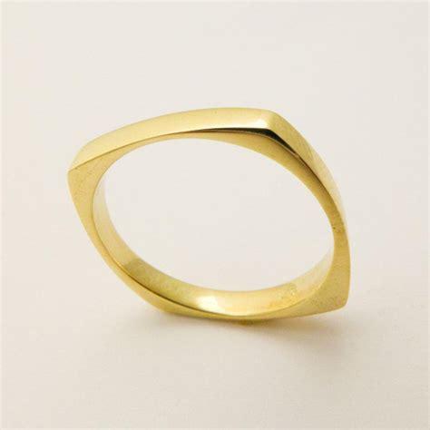 14 karat solid gold square ring geometric wedding ring