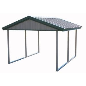 pws premium canopy  ft   ft light stone  patina green  steel carport structure