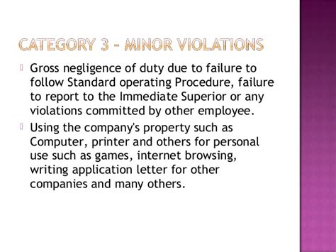 Explanation Letter For Gross Negligence Employees Code Of Conduct
