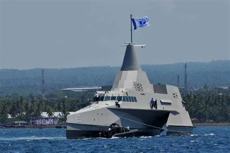 trimaran warship swedish pt lundin launches advanced stealth warship in
