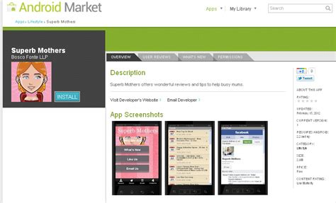 android market app superb mothers hey superb mothers on android app