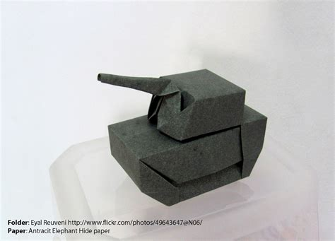 Origami Tanks - anthracite elephant hide paper