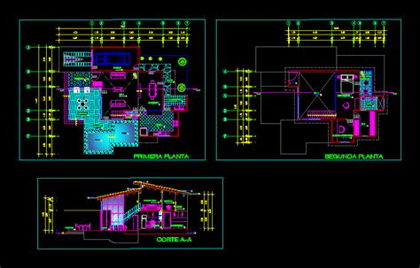 two story small house 2d dwg plan for autocad designscad