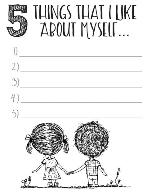 5 Things White And Beautiful 2 by Free Printable Self Esteem Worksheets