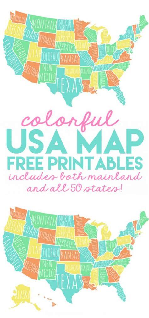 map usa free printable colorful usa map free printable lolly