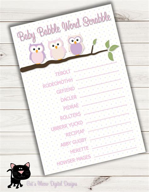 baby shower scrabble baby shower word scrabble pink owlprintableinstant