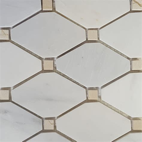 Boliche Mosaic Tile Asian Carrara Beige Marble Polished