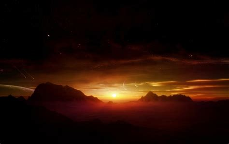 mountains sunset foggy stars wallpapers mountains sunset
