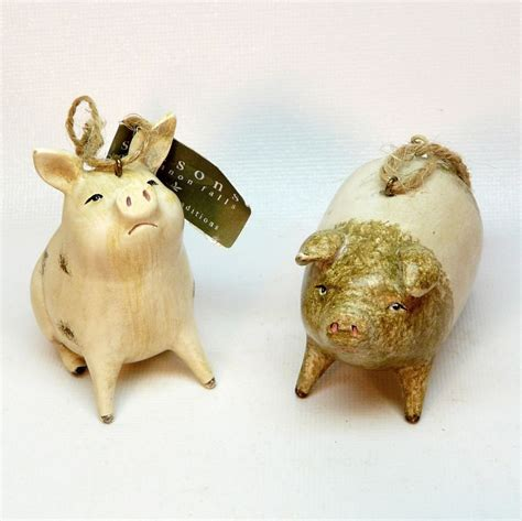 2 pig christmas ornaments seasons of cannon falls