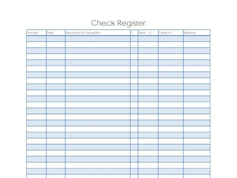 9 Excel Checkbook Register Templates Excel Templates Printable Blank Check Template