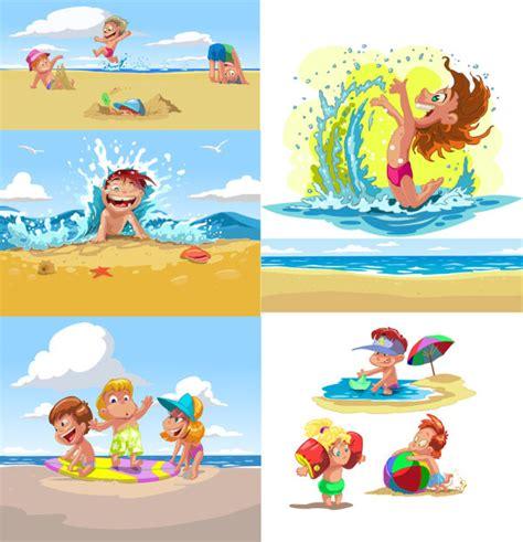 imagenes niños jugando en el mar playa de los ni 241 os cartoon verano vector descarga