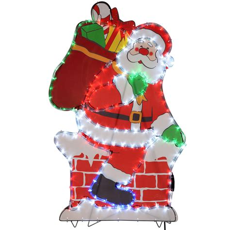 werchristmas 100 cm large chimney santa led rope lights
