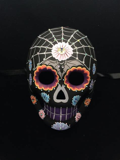 day of the dead mask dia de los muertos black skeleton w