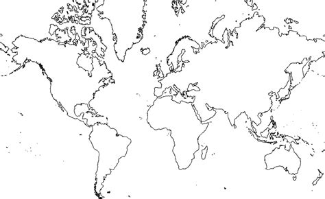 World Map Continent Outline by Blank Map Of The World To Label Continents