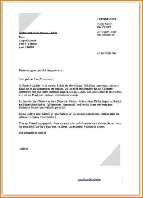 Bewerbung Formloses Anschreiben 9 Bewerbung F 252 R Ein Praktikum Muster Reimbursement Format