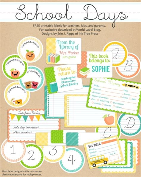 label templates for school books 78 free printable labels and beautiful tags tip junkie