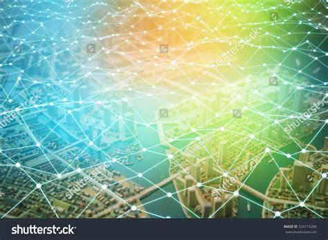 network pattern en français modern city diorama network grid pattern stock photo
