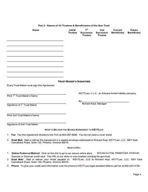 Nfa Gun Trust Form Arizona Free Download Nfa Trust Template