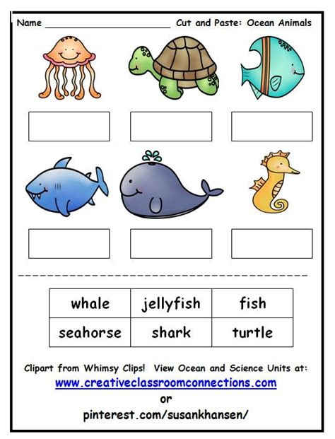 best photos of ocean animals worksheets cut out ocean 162 best images about ocean animals curriculum for primary