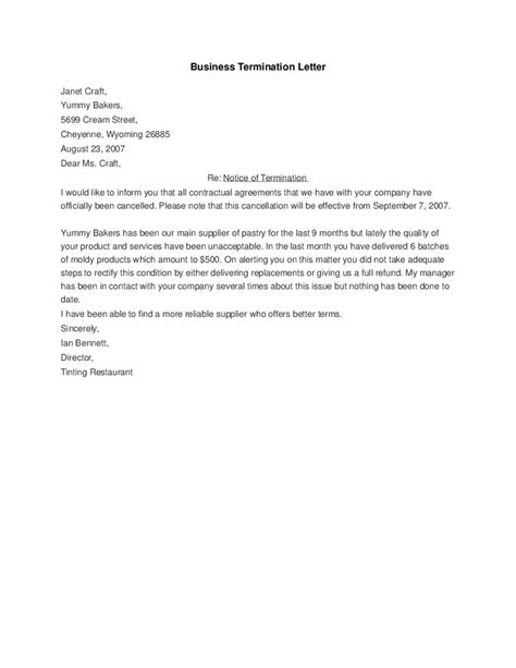 Termination Letter Of Company Business Termination Letter Hashdoc